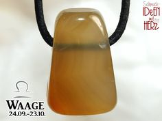 LIBRA: Carnelian on leather strap / cotton cord (necklace) Water Bottle, Stone, Etsy, Libra Zodiac, Stone Necklace, Carnelian, Leather Cord, Gemstones, Black Leather
