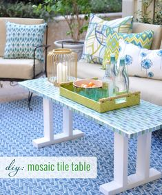 DIY Mosaic Tile Table.  Could also add a tile top like this to nightstands