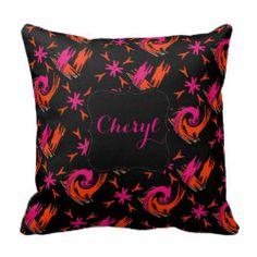Funky Bright Pink Orange Mix Pattern Pillows