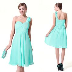 HE03535 Ever Pretty One Shoulder Flowers Padded Ruffles Short  Bridesmaid Dresses 2013