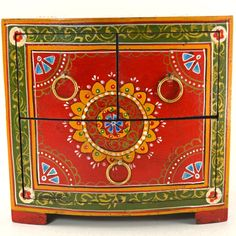 Hand Painted Chest, handcrafted in India.