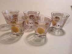 Vintage 1950's Aztec / Mayan Calendar  Motif  Barware- Glasses Set of (5)