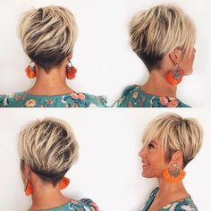 Best Short Layered Pixie Cut Ideas In every period of rapidly changing hair trends, short pixie cuts can be an excellent experience Short Pixie Haircuts, Short Hair Cuts, Short Hair Styles, Pixie Bob, Long Pixie Hair, Women Pixie Haircut, Longer Pixie Haircut, Haircut Short, Pixie Styles
