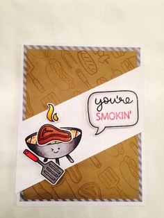 Lawn fawn lets BBQ stamp set birthday card.