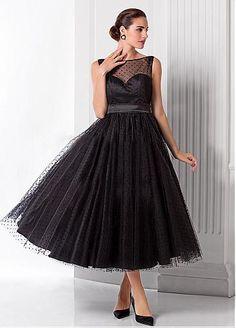 Chic Polka Dot Tulle Bateau Neckline Tea-length A-line Prom Dresses