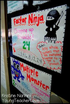 Factors and Multiples Anchor Charts - love the idea of using student numbers for students to do factors and multiples.