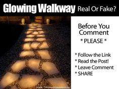 """(link) Glowing Walkway Real Or Fake? The image has been """"used"""" at times and placed on pages to lead people to believe they can create this effect for their walkway with glow in the dark paint... (continue to read full article)  ~ for more great PINs w/good links visit @djohnisee ~ have fun!"""