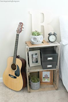 DIY: crate nightstand... Would love this in the music corner for the kids with a Boneyard light!