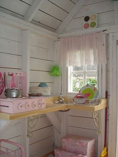 Shed Playhouse Interior Design, Pictures, Remodel, Decor and Ideas Inside Playhouse, Playhouse Decor, Playhouse Interior, Girls Playhouse, Build A Playhouse, Playhouse Outdoor, Wooden Playhouse, Playhouse Ideas, Playhouse Furniture
