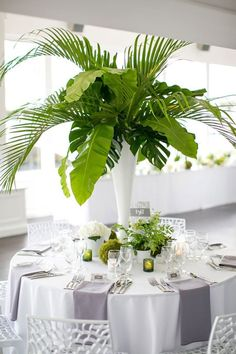 palm fronds party decoration, banana leaves centerpiece, tropical leaf