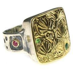Large Greek designed ring in gold with ruby and emerald. See more gold rings with rubies and emeralds at Athena's Treasures. Gold Band Ring, Pave Ring, Gold Bands, Aquamarine Rings, Emerald Gemstone, Greek Jewelry, Rustic Jewelry, Schmuck Design, Stone Rings