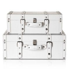 # Z Gallerie Veneto Suitcases - White Set of 2 from Z Gallerie - for corralling all the odds and ends that don't need to be seen