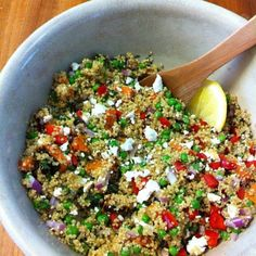 quinoa, peas, sweet potato, feta, mint, red capsicum, parsley, red onion, squeeze of lemon, salt & pepper.