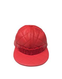 **New arrival** -Red Nappa Leather Baseball Hat -   Red Nappa Leather Baseball Hat crafted in natural nappa calfskin is a tomboy chic accessory to be paired with your favorite boyfriend jeans and T-shirt for an everyday casual glam style. Featuring quilted design paneled crown with top button signature detail on front and flat brim. Signature box and dust bag included.