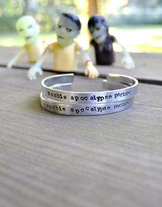 Zombie Apocalypse Partner Bracelet - Halloween - Spooky - For Him - For Her - Unisex - Skulls - Silver - Text - Walking Dead