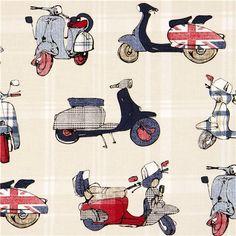 off-white retro motor scooter Michael Miller fabric British