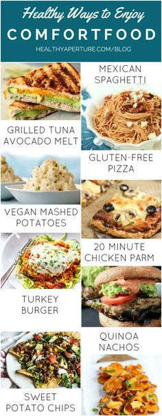 New Ways to Enjoy Comfort Food Classics | A round-up of the most popular pins from HealthyAperture bloggers. Recipes include Mexican Spaghetti, Grilled Tuna Avocado Melt, Vegan Mashed Potatoes, Gluten-free Pizza Crust, 20-Minute Chicken Parmesan, Turkey Burgers, Quinoa & Black Bean Nachos and Sweet Potato Chips