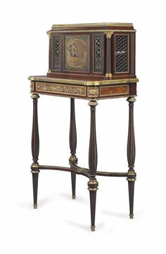 A FRENCH ORMOLU-MOUNTED MAHOGANY, AMBOYNA AND JAPANESE LACQUER BONHEUR DU JOUR BY HENRY DASSON, PARIS, DATED 1879