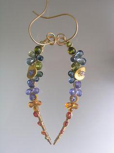 Sea Glass Fragments...Green Blue Orange Sapphire Tanzanite Encrusted Signature Original Gold Filled Curved Vine Earrings