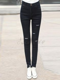 Doresuwe.com SUPPLIES 2015秋新品ファッション クラッシュ 軽めダメージ スキニージーンズ ジーンズ