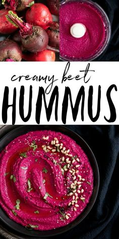 Bright and delicious Beet Hummus Recipe made with beets chickpeas tahini lemon and garlic. Enjoy with warm pita bread and fresh crunchy veggies! Veggie Recipes, Appetizer Recipes, Whole Food Recipes, Vegetarian Recipes, Cooking Recipes, Healthy Recipes, Potato Recipes, Dinner Recipes, Beet Recipes Healthy