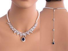 Grace - Sapphire Blue Bridal Jewelry SET Necklace + Earrings, Wedding Backdrop Necklace, Swarovski Crystal Pearl Back Drop Necklace