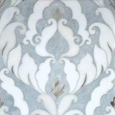Afyon Grey, Afyon White, Palisandra Multi Finish Rumi Marble Waterjet Decos 13 9/16x18 - Marble System Inc.