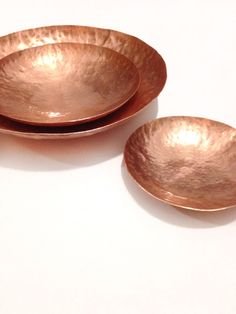 Hand forged Copper Dish - Shallow Bowl / Vessel -100mm, 150mm, 200mm by MintyWares on Etsy https://www.etsy.com/listing/221298033/hand-forged-copper-dish-shallow-bowl