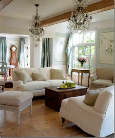Love the antique pine blanket chest used here as a coffee table.