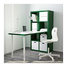 "IKEA - KALLAX, Workstation, black-brown, 30 3/8x57 7/8 "", , You can use the furniture as a room divider because it looks good from every angle.Choose whether you want to place it vertically or horizontally to use it as a shelf or sideboard.Pre-drilled holes for legs, for easy assembly.The table can be moved across the floor without worry because the plastic feet protect against scratching.You can use the connection fixture to attach any non-glass table top in our range to a KALLAX shelf…"
