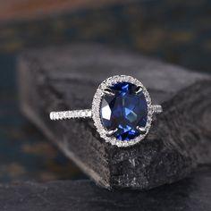 Fashion Halo blue fire opal Ovale Cut avec Saphir Bleu Zircone cubique Argent Sterling Ring