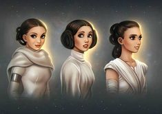star wars and art image. Three generations of skywalker women