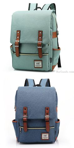 Vintage Travel Backpack Leisure Canvas With Leather Backpack&Schoolbag for big sale !#backpack #college #bag #canvas #leisure #travel #rucksack