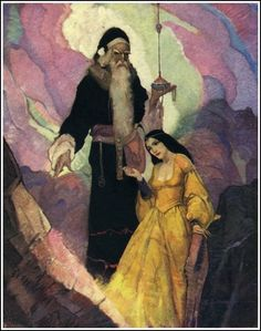 Merlin and Morgana by Frank Schoonover from King Arthur, 1932