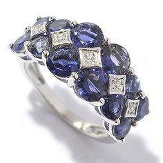 144-599 - Gem Treasures® Sterling Silver 3.65ctw Gemstone & White Zircon Band Ring