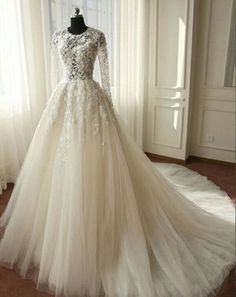 cc97966582 XP83 Beautiful Long Sleeves Wedding Dress, Ivory Tulle Lace Wedding Dress, Lace  Wedding Dress, Sexy Wedding Dress, A-line Wedding Gown, Bridal Dress
