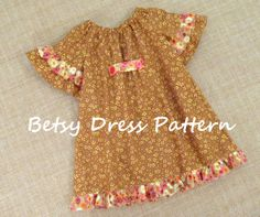 Betsy - Girl's Peasant Dress Pattern PDF. Girl's Sewing Pattern.Tutorial Easy Sew Sizes 12m-10 included. $7.50, via Etsy.