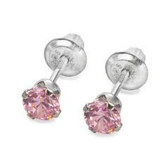 Strawberry Ice Sparklies Earrings. Pink sparklies! What girl can resist? These sterling silver earring feature a screw-back design, so they won't get lost! #bestdressedkids.com #kidsjewelry