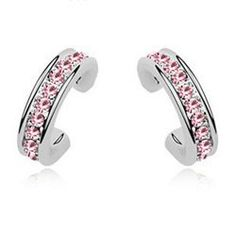 925 Sterling Silver Rose Rhinestone Stud Earrings Contempo Culture