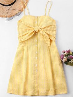Knot Gingham Cami Dress