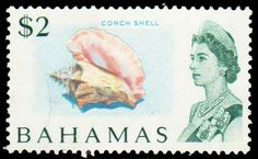 Bahamas Scott #265 1967 $2 QEII Conch Shell. Unused no gum.