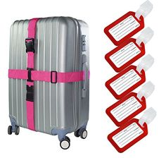 WeBravery Long Cross Luggage Straps Suitcase Belts Travel Tag Strap Accessories 1Stap Pink 5Tags Red * To view further for this item, visit the image link.
