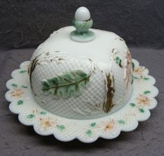 Antique Milk Glass Covered Butter Dish With Acorn Decoration