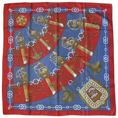 """Hermes Vintage Silk Carre Scarf """"Cliquetis"""" by Julie Abadie   From a collection of rare vintage scarves at https://www.1stdibs.com/fashion/accessories/scarves/"""