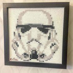 Framed Star Wars Stormtrooper perler beads by David Nilsson- Perler Art