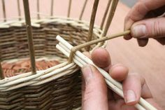 A step by step guide to weaving a traditional style Willow Wicker basket from start to finish. Paper Basket Weaving, Basket Weaving Patterns, Willow Weaving, Owl Fabric, Upcycled Crafts, Weaving Techniques, Diy Projects To Try, Fall Crafts, Wicker Baskets