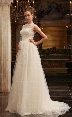 Ivory Elegant A-Line  Floor-length With Chapel Train Celebrity Runway Wedding Dresses(SCW020)