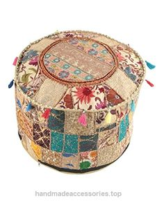 """NANDNANDINI – Beautiful HANDMADE Christmas Decorative Indian Vintage Ottoman Pouf Cover ,Patchwork Ottoman, Living Room Patchwork Foot Stool Cover,Decorative Handmade Home Chair Cover  Check It Out Now     $27.90    Vibrant colourful handmade """"Khambadiya"""" ottoman pouf cover from Rajasthan, India! Incorporates sophisticated patchwor ..  http://www.handmadeaccessories.top/2017/03/14/nandnandini-beautiful-handmade-christmas-decorative-indian-vintage-ottoman-pouf-cover-patchwork-ott.."""