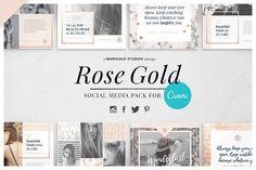 ROSE GOLD | Canva Social Media Pack by Marigold Studios on @creativemarket