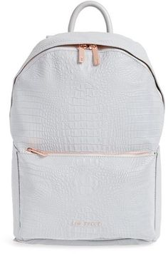 8769c7d129e7a Ted Baker London Rahri Reflective Croc Embossed Faux Leather Backpack - Grey